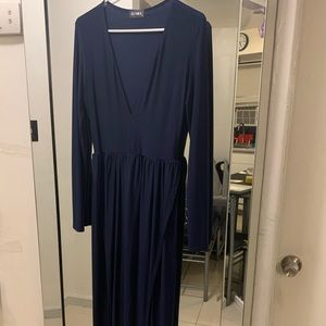 Navy Long Sleeve Long Dress with two slits